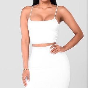 Fashion nova white two piece set